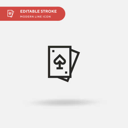 Playing Cards Simple vector icon. Illustration symbol design template for web mobile UI element. Perfect color modern pictogram on editable stroke. Playing Cards icons for your business project Ilustração