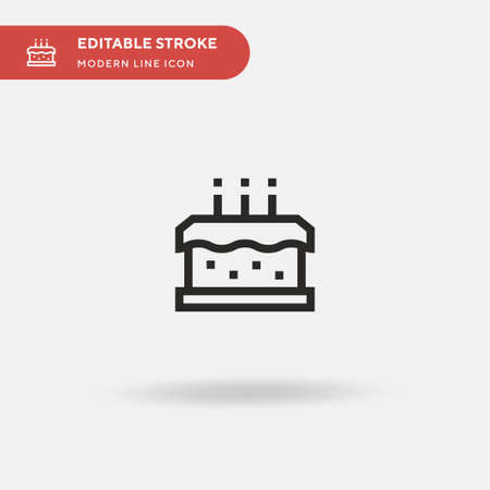 Birthday Cake Simple vector icon. Illustration symbol design template for web mobile UI element. Perfect color modern pictogram on editable stroke. Birthday Cake icons for your business project