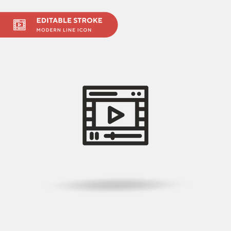 Video Player Simple vector icon. Illustration symbol design template for web mobile UI element. Perfect color modern pictogram on editable stroke. Video Player icons for your business project