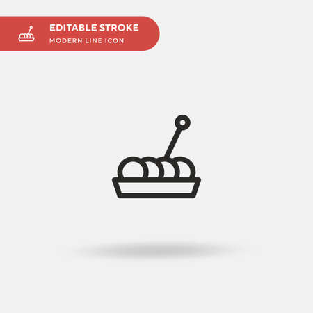 Takoyaki Simple vector icon. Illustration symbol design template for web mobile UI element. Perfect color modern pictogram on editable stroke. Takoyaki icons for your business project
