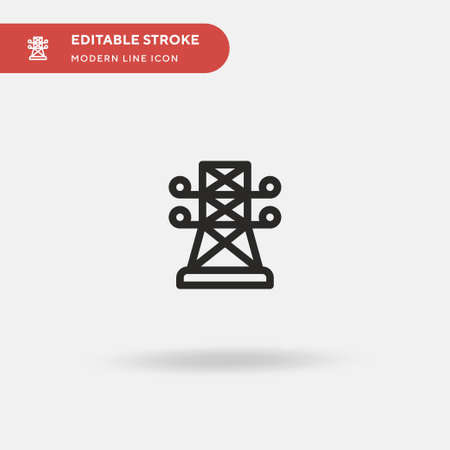 Electric Tower Simple vector icon. Illustration symbol design template for web mobile UI element. Perfect color modern pictogram on editable stroke. Electric Tower icons for your business project