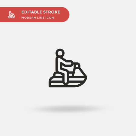 Jet Ski Simple vector icon. Illustration symbol design template for web mobile UI element. Perfect color modern pictogram on editable stroke. Jet Ski icons for your business project