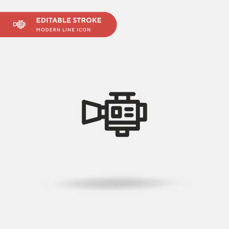 Video Camera Simple vector icon. Illustration symbol design template for web mobile UI element. Perfect color modern pictogram on editable stroke. Video Camera icons for your business project