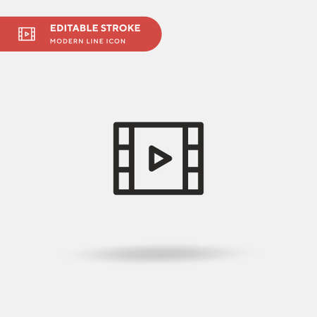 Multimedia Player Simple vector icon. Illustration symbol design template for web mobile UI element. Perfect color modern pictogram on editable stroke. Multimedia Player icons for your business project