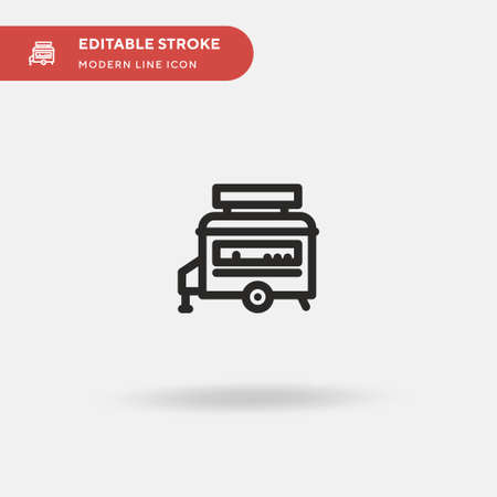 Food Truck Simple vector icon. Illustration symbol design template for web mobile UI element. Perfect color modern pictogram on editable stroke. Food Truck icons for your business project