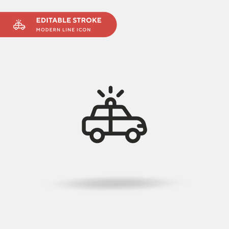 Police Car Simple vector icon. Illustration symbol design template for web mobile UI element. Perfect color modern pictogram on editable stroke. Police Car icons for your business project