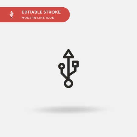Usb Connection Simple vector icon. Illustration symbol design template for web mobile UI element. Perfect color modern pictogram on editable stroke. Usb Connection icons for your business project