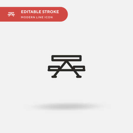 Picnic Table Simple vector icon. Illustration symbol design template for web mobile UI element. Perfect color modern pictogram on editable stroke. Picnic Table icons for your business project 矢量图像