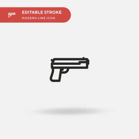 Handgun Simple vector icon. Illustration symbol design template for web mobile UI element. Perfect color modern pictogram on editable stroke. Handgun icons for your business project