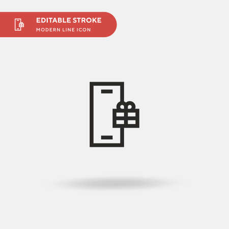 Gift Simple vector icon. Illustration symbol design template for web mobile UI element. Perfect color modern pictogram on editable stroke. Gift icons for your business project Çizim