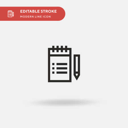 Notebook Simple vector icon. Illustration symbol design template for web mobile UI element. Perfect color modern pictogram on editable stroke. Notebook icons for your business project Vectores