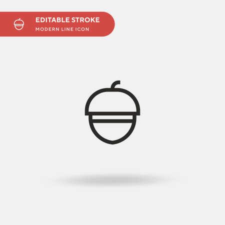 Acorn Simple vector icon. Illustration symbol design template for web mobile UI element. Perfect color modern pictogram on editable stroke. Acorn icons for your business project Vektorgrafik