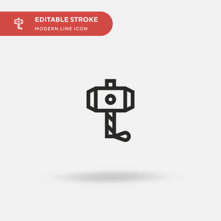 hammer Simple vector icon. Illustration symbol design template for web mobile UI element. Perfect color modern pictogram on editable stroke. Thor icons for your business project