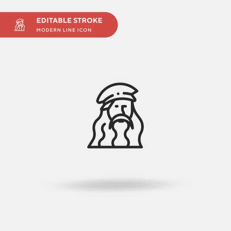 Leonardo Da Vinci Simple vector icon. Illustration symbol design template for web mobile UI element. Perfect color modern pictogram on editable stroke. Leonardo Da Vinci icons for your business project