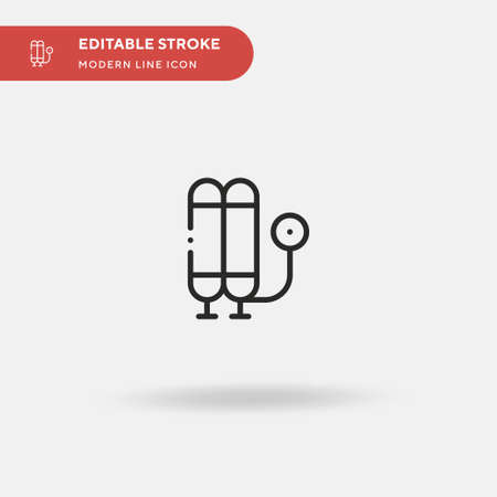 Oxygen Tank Simple vector icon. Illustration symbol design template for web mobile UI element. Perfect color modern pictogram on editable stroke. Oxygen Tank icons for your business project  イラスト・ベクター素材