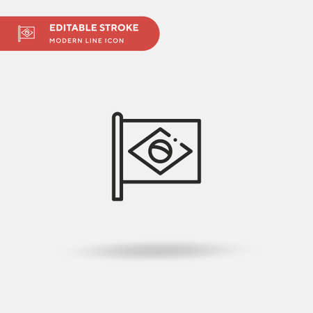 Brazil Flag Simple vector icon. Illustration symbol design template for web mobile UI element. Perfect color modern pictogram on editable stroke. Brazil Flag icons for your business project