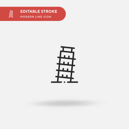 Leaning Tower Of Pisa Simple vector icon. Illustration symbol design template for web mobile UI element. Perfect color modern pictogram on editable stroke. Leaning Tower Of Pisa icons for your business project