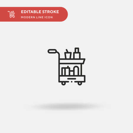 Trolley Simple vector icon. Illustration symbol design template for web mobile UI element. Perfect color modern pictogram on editable stroke. Trolley icons for your business project