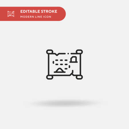 Treasure Map Simple vector icon. Illustration symbol design template for web mobile UI element. Perfect color modern pictogram on editable stroke. Treasure Map icons for your business project