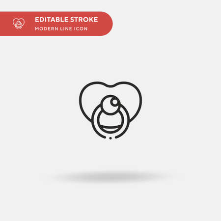 Pacifier Simple vector icon. Illustration symbol design template for web mobile UI element. Perfect color modern pictogram on editable stroke. Pacifier icons for your business project Vettoriali