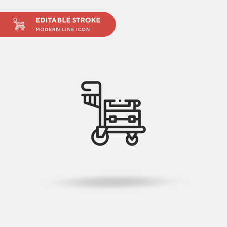 Luggage Cart Simple vector icon. Illustration symbol design template for web mobile UI element. Perfect color modern pictogram on editable stroke. Luggage Cart icons for your business project Çizim