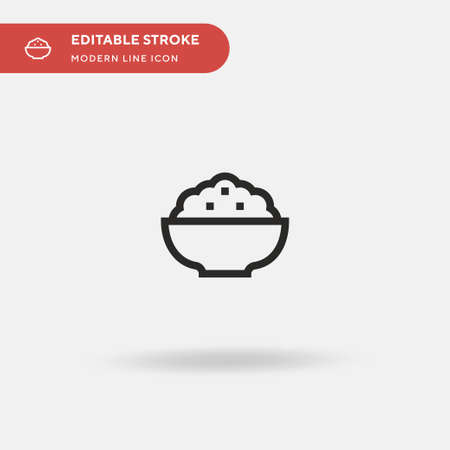 Rice Simple vector icon. Illustration symbol design template for web mobile UI element. Perfect color modern pictogram on editable stroke. Rice icons for your business project