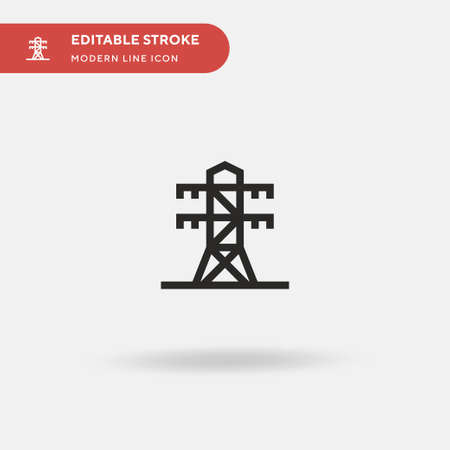 Electric Tower Simple vector icon. Illustration symbol design template for web mobile UI element. Perfect color modern pictogram on editable stroke. Electric Tower icons for your business project Ilustração