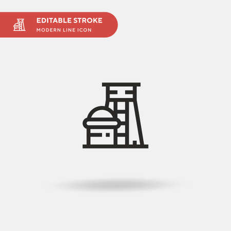 Nuclear Plant Simple vector icon. Illustration symbol design template for web mobile UI element. Perfect color modern pictogram on editable stroke. Nuclear Plant icons for your business project Vettoriali