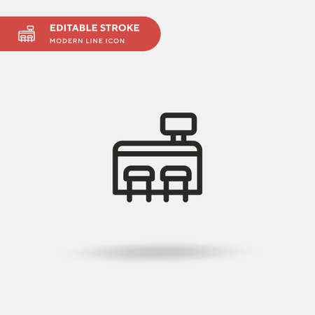 Cash Register Simple vector icon. Illustration symbol design template for web mobile UI element. Perfect color modern pictogram on editable stroke. Cash Register icons for your business project