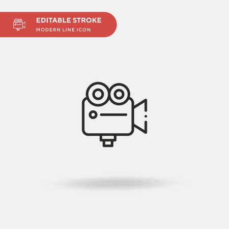 Videocamera Simple vector icon. Illustration symbol design template for web mobile UI element. Perfect color modern pictogram on editable stroke. Videocamera icons for your business project Ilustrace