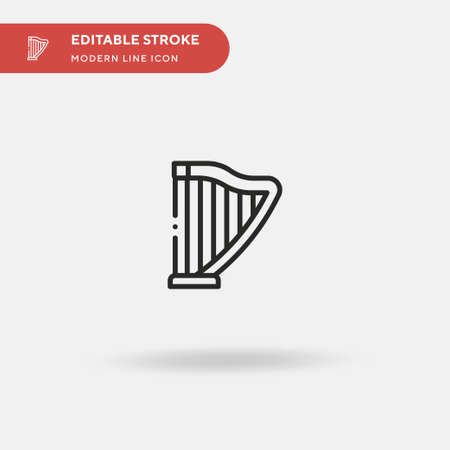 Harp Simple vector icon. Illustration symbol design template for web mobile UI element. Perfect color modern pictogram on editable stroke. Harp icons for your business project Illustration