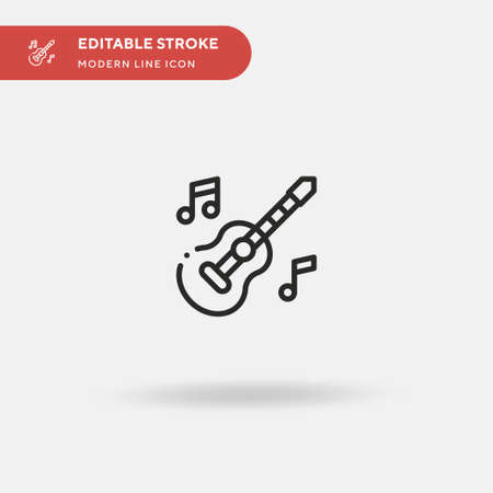 Guitar Simple vector icon. Illustration symbol design template for web mobile UI element. Perfect color modern pictogram on editable stroke. Guitar icons for your business project Illustration