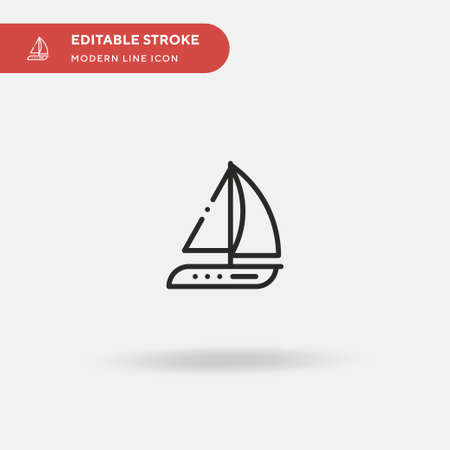 Yatch Simple vector icon. Illustration symbol design template for web mobile UI element. Perfect color modern pictogram on editable stroke. Yatch icons for your business project