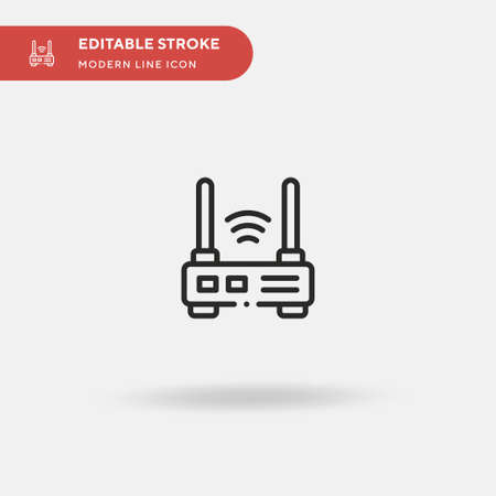 Router Simple vector icon. Illustration symbol design template for web mobile UI element. Perfect color modern pictogram on editable stroke. Router icons for your business project