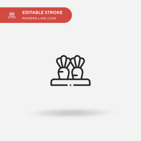 Carrots Simple vector icon. Illustration symbol design template for web mobile UI element. Perfect color modern pictogram on editable stroke. Carrots icons for your business project Vettoriali