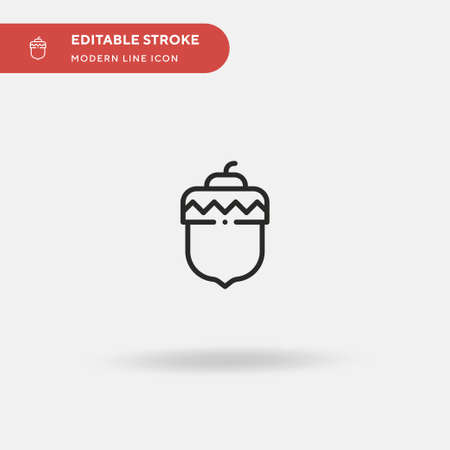 Acorn Simple vector icon. Illustration symbol design template for web mobile UI element. Perfect color modern pictogram on editable stroke. Acorn icons for your business project