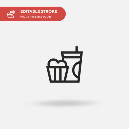 Popcorn Simple vector icon. Illustration symbol design template for web mobile UI element. Perfect color modern pictogram on editable stroke. Popcorn icons for your business project