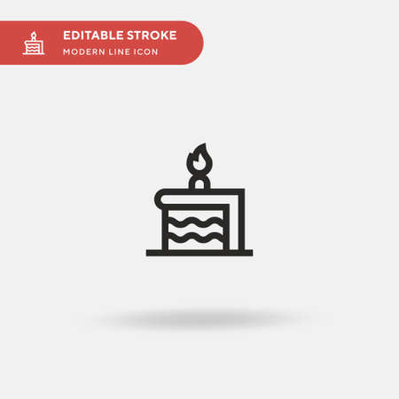 Birthday Cake Piece Simple vector icon. Illustration symbol design template for web mobile UI element. Perfect color modern pictogram on editable stroke. Birthday Cake Piece icons for your business project