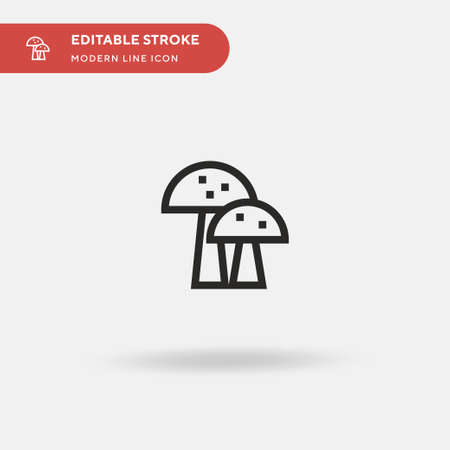 Mushrooms Simple vector icon. Illustration symbol design template for web mobile UI element. Perfect color modern pictogram on editable stroke. Mushrooms icons for your business project