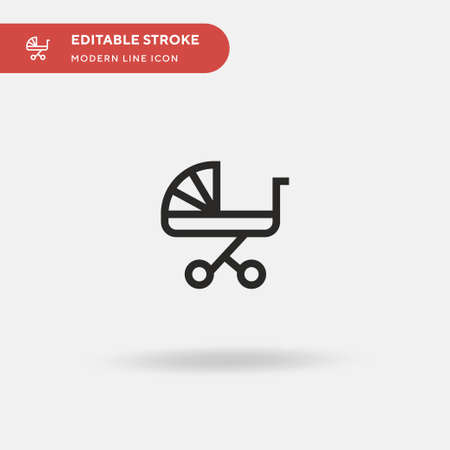 Baby Carriage Simple vector icon. Illustration symbol design template for web mobile UI element. Perfect color modern pictogram on editable stroke. Baby Carriage icons for your business project
