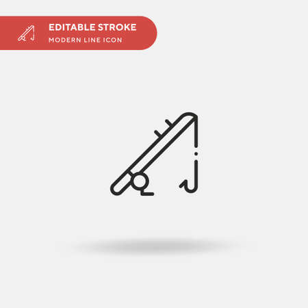 Fishing Rod Simple vector icon. Illustration symbol design template for web mobile UI element. Perfect color modern pictogram on editable stroke. Fishing Rod icons for your business project 일러스트