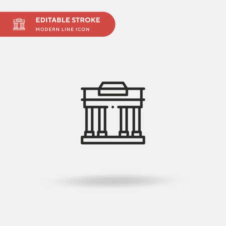 Brandenburg Gate Simple vector icon. Illustration symbol design template for web mobile UI element. Perfect color modern pictogram on editable stroke. Brandenburg Gate icons for your business project Çizim