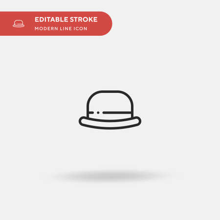 Bowler Hat Simple vector icon. Illustration symbol design template for web mobile UI element. Perfect color modern pictogram on editable stroke. Bowler Hat icons for your business project
