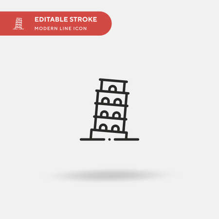 Pisa Tower Simple vector icon. Illustration symbol design template for web mobile UI element. Perfect color modern pictogram on editable stroke. Pisa Tower icons for your business project Çizim
