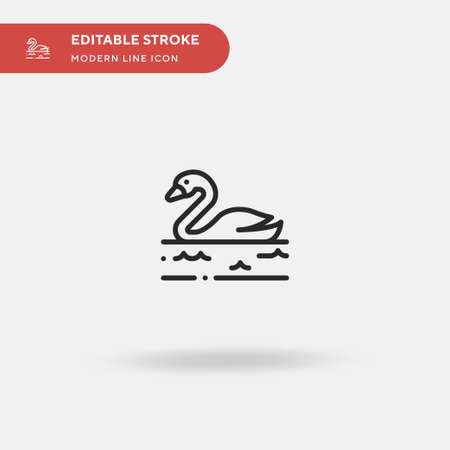 Swan Simple vector icon. Illustration symbol design template for web mobile UI element. Perfect color modern pictogram on editable stroke. Swan icons for your business project