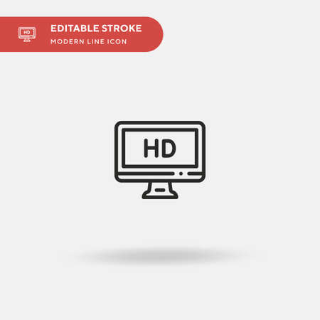 Hd Simple vector icon. Illustration symbol design template for web mobile UI element. Perfect color modern pictogram on editable stroke. Hd icons for your business project Çizim