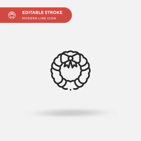 Christmas Wreath Simple vector icon. Illustration symbol design template for web mobile UI element. Perfect color modern pictogram on editable stroke. Christmas Wreath icons for your business project