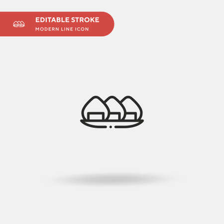 Onigiri Simple vector icon. Illustration symbol design template for web mobile UI element. Perfect color modern pictogram on editable stroke. Onigiri icons for your business project Иллюстрация