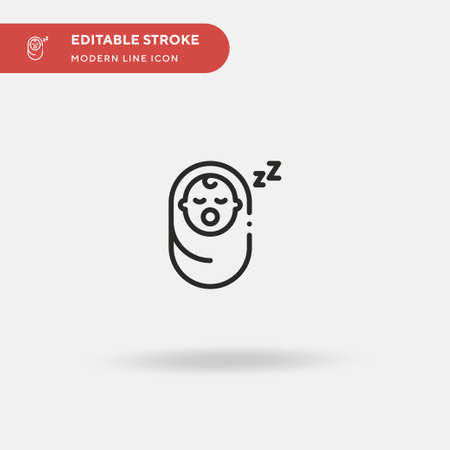 Sleeping Baby Simple vector icon. Illustration symbol design template for web mobile UI element. Perfect color modern pictogram on editable stroke. Sleeping Baby icons for your business project