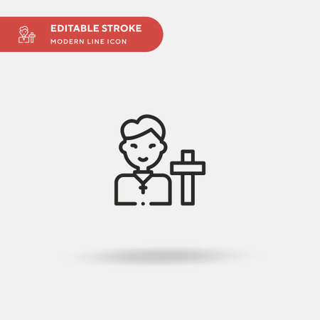 Priest Simple vector icon. Illustration symbol design template for web mobile UI element. Perfect color modern pictogram on editable stroke. Priest icons for your business project
